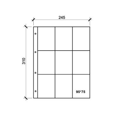 Лист для календарей и визиток 245 х 310 мм на 9 ячеек. Формат GRAND. СОМС (КЛФ9-G)