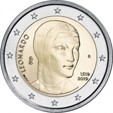 500 лет со дня смерти Леонардо да Винчи. 2 евро 2019 года. Италия (UNC)