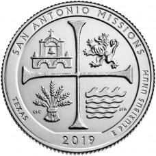 парк Миссии Сан-Антонио. 25 центов 2019 года США. №49. (монетный двор Филадельфия) UNC