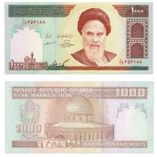 Банкнота 1000 риалов 1992-2006. Иран (Pick 143g) Подпись 35. Из банковской пачки UNC