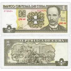 Банкнота 1 песо 2004 (2016) года. Куба (Pick 128g). Из банковской пачки (UNC)
