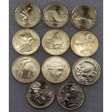 Набор памятных монет, 1 доллар США Сакагавея - Индианка. Из банковского ролла (11 монет)