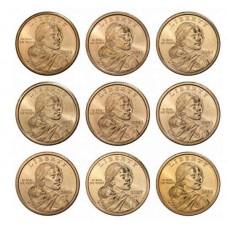 Набор памятных монет, 1 доллар США 2000 - 2008 г.г.. Парящий Орел. Из банковского ролла (9 монет)