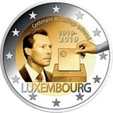 100-летие универсального права голоса. 2 евро 2019 года.  Люксембург. Из банковского ролла (UNC)