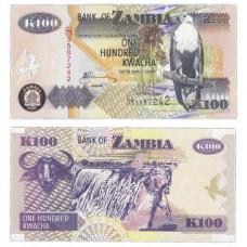 Банкнота 100 квача 2006 год. Замбия. Pick 38f. Из банковской пачки (UNC)