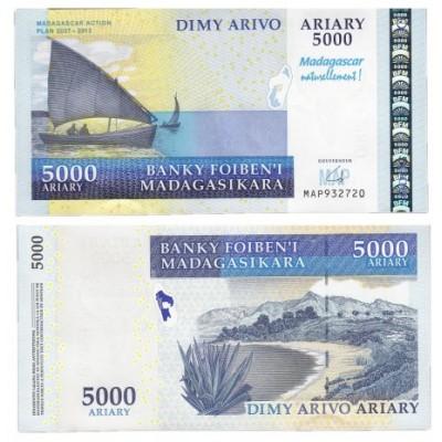 Банкнота 5000 ариари  2007 год. Мадагаскар. Pick 91a. Из банковской пачки (UNC)