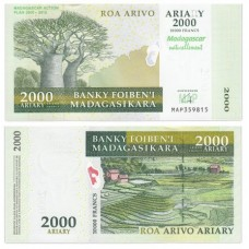 "Банкнота 2000 ариари  2007 год. Мадагаскар. ""План действий"". Pick 90a. Из банковской пачки (UNC)"