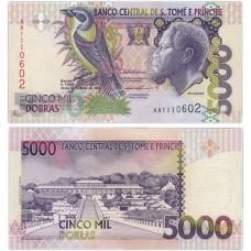 Банкнота 5000 добр 1996 год. Сан-Томе и Принсипи . Pick 65а. Из банковской пачки (UNC)