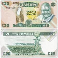 Банкнота 20 квача1980-1988. Замбия. Pick 27e. Из банковской пачки (UNC)