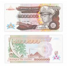 Банкнота 5 000 000 заир 1992 год. Заир. Pick 46a. Из банковской пачки (UNC)