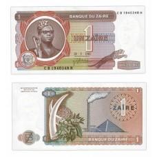 Банкнота 1 заир 1981 год. Заир. Pick 19b. Из банковской пачки (UNC)