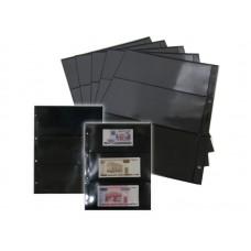 Лист для открыток, фото и бон на 3 ячейки  на чёрной основе (ЛБЧФ3-G, двухсторонний). СОМС
