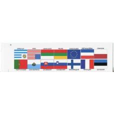 Флаги 14 стран мира. Размер листа 255 мм  *68 мм. Картон