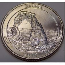 Национальный парк Арки. 25 центов 2014 года. США. №23 Из банковского ролла (монетный двор Филадельфия)
