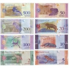 Набор банкнот номиналом 2,5,10, 20, 50, 100, 200 и 500 боливаров 2018 года. Венесуэла. (8 банкнот) UNC