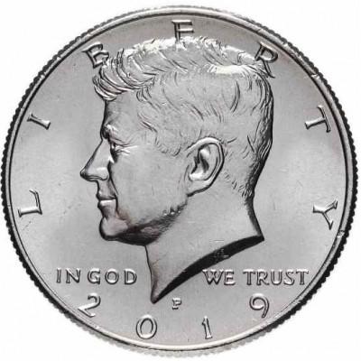 """Half Dollar (50 центов) США 2019 """"Kennedy Half Dollar (Кеннеди)"""". Монетный двор Филадельфия) (UNC)"""