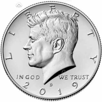 """Half Dollar (50 центов) США 2019 """"Kennedy Half Dollar (Кеннеди)"""". Монетный двор Денвер (UNC)"""