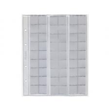 Лист для хранения монет, на 54 ячейки, скользящий, формат Оптима. 200х250 мм. СОМС (ЛМ54ск-О)