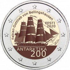 200 лет со дня открытия Антарктиды. Монета 2 евро 2020 года.  Эстония (UNC)
