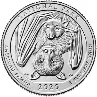 Национальный парк Американского Самоа. 25 центов 2020 года США. № 51 (монетный двор Филадельфия) UNC