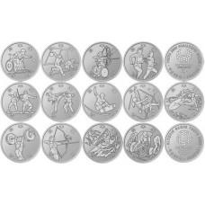 Комплект монет Японии 100 йен 2019 - 2020  (выпуски 1,2 и 3)   Олимпиада и Паралимпиада в Токио 2020  UNC ( 13 монет.)