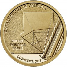 Шкала переменных Гербера. Монета 1 доллар 2020 США. Двор D. Из банковского мешка