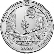 Национальный исторический парк Рокфеллера. 25 центов 2020 года США. № 54 (монетный двор Филадельфия) UNC