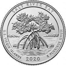 Национальный исторический парк и экологический заповедник Бухта Солёной реки. 25 центов 2020 года США. № 53. (монетный двор Денвер) UNC