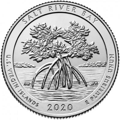 Национальный исторический парк и экологический заповедник Бухта Солёной реки. 25 центов 2020 года США. № 53 (монетный двор Филадельфия) UNC