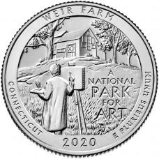 Национальное историческое место «Ферма Дж. А. Вейра». 25 центов 2020 года США. № 52. (монетный двор Денвер) UNC