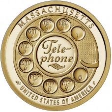 Один из первых дисковых номеронабирателей. Монета 1 доллар 2020 США. Двор P. Из банковского мешка