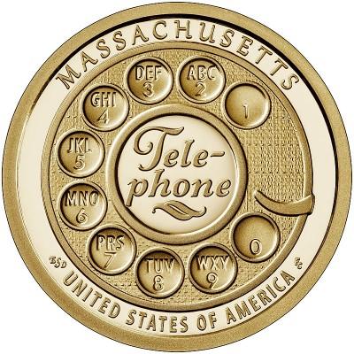 Один из первых дисковых номеронабирателей. Монета 1 доллар 2020 США. Двор D. Из банковского мешка