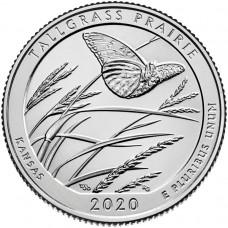 Национальный заповедник Толлграсс-Прери. 25 центов 2020 года США. № 55 (монетный двор Филадельфия) UNC