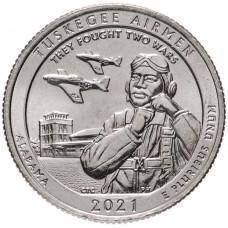 Национальное историческое место «Пилоты из Таскиги». 25 центов 2021 года США. № 56 (монетный двор Сан-Франциско) UNC