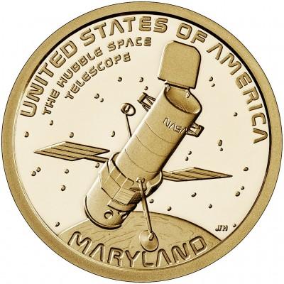 Космический телескоп «Хаббл» на орбите Земли. 1 доллар 2020 года. США.  Американские инновации. Из банковского ролла
