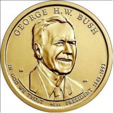 Джордж Буш. 1 доллар 2020 года,  41-й президент США. Из банковского ролла