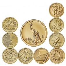 Набор памятных монет 1 доллар 2018 -2020.  Американские инновации. Из банковского мешка ( 9 монет)
