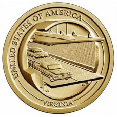 Чесапикский тоннель. 1 доллар 2021 года. США.  Американские инновации. Из банковского ролла (11-ая монета)
