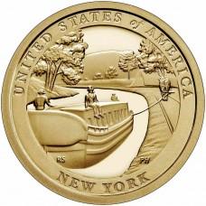 Пакетбот, курсирующий по каналу Эри на конной тяге. 1 доллар 2021 года. США.  Американские инновации. Из банковского ролла (12-ая монета)