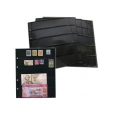 Лист  на чёрной основе для марок и банкнот 200 мм * 250 мм . На 5 ячеек 180*42 мм. Формат OPTIMA (двухсторонний)