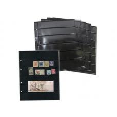 Лист  на чёрной основе для марок и банкнот 200 мм * 250 мм . На 6 ячеек 180*35 мм. Формат OPTIMA (двухсторонний)