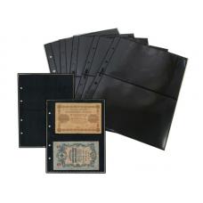 Лист  на чёрной основе для марок и банкнот 200 мм * 250 мм . На 2 ячейки 180*120 мм. Формат OPTIMA (двухсторонний)