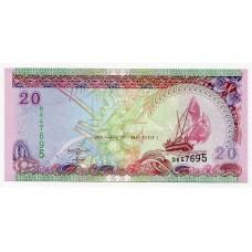 Банкнота 20 руфий 2008 года. Мальдивы. KM# 20.c. UNC