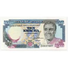 Банкнота 10 квача 1989 года. Замбия. UNC