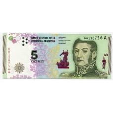 Банкнота 5 песо 2015 года. Аргентина. UNC