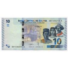 Банкнота 10 боливано 2018 года. Боливия. UNC