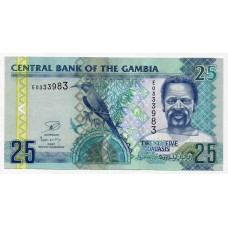 Банкнота 25 даласи 2012 года. Гамбия. UNC