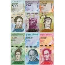 Набор банкнот номиналом 500, 1000, 2000, 5000, 10000 и 20000 боливаров. Венесуэла. (6 банкнот) UNC