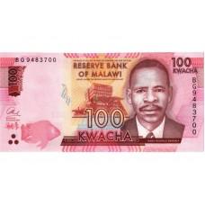 Банкнота 100 квача 2017 год. Малави (UNC)