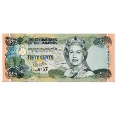 Банкнота 50 центов 2001 года  Багамские острова. Из банковской пачки